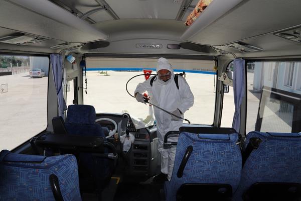 Servis Araçları Dezenfekte Ediliyor